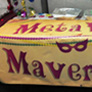 banner used as a table throw for a mardi gras part